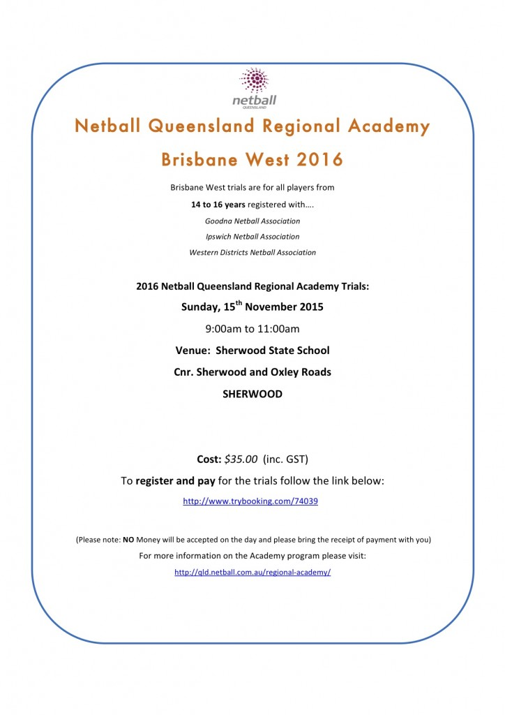 Netball Qld Brisbane West Academy trials 2015